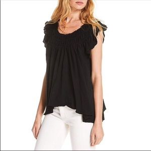 Free People Coconut Gathered Top Black Size Small
